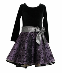 Purple Flocked Organza Empire Girl's Dress - sold out