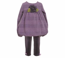 Infant Girls Purple Flower Glitter Pant Set   FINAL SALE