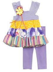 Rare Editions Purple Mixed Print Tiered Set FINAL SALE  Size 6  or 6X