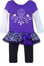 Purple Peace Sign Tunic with Ruffle Skirt and Leggings