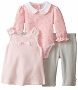 Quiltex Baby-Girls Velour Bow Tunic Legging 3 Pc Set