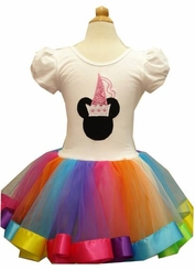 Rainbow Minnie Mouse Inspired Costume Tutu Dress