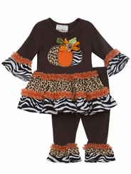 Rare Edition Brown Zebra Pumpkin Legging Set
