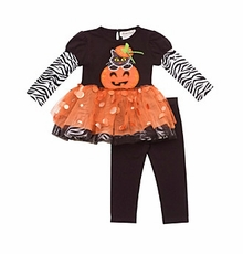 Rare Edition Girl's Orange Pumpkin Tutu Set : Girl's Halloween Outfits CLEARANCE