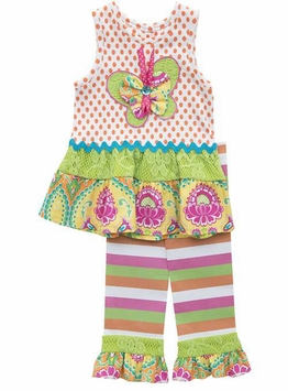 Rare Edition Little Girls Butterfly Stripe Knit Pant Set