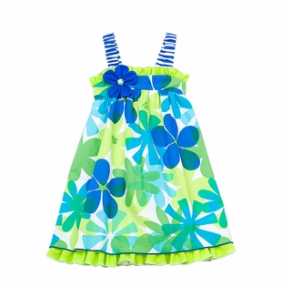 Rare Editions  2T - 6X Blue Lime Floral Print Sundress CLEARANCE