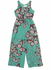 Rare Editions 7-16 Mint Butterfly Sheer Leg Jumpsuit   sold out
