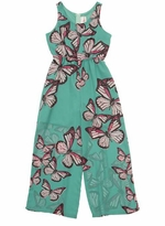 Rare Editions 7-16 Mint Butterfly Sheer Leg Jumpsuit