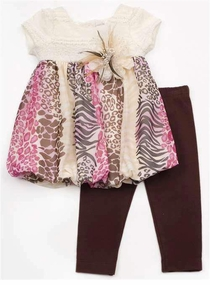 Rare Editions Animal Print Baby Pant Set sold out