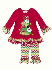Rare Editions Girl's Christmas Tree Applique Chevron Pant Set 12 month - 6X