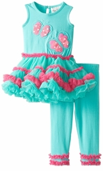 Rare Editions Baby Girls Aqua Butterfly Tutu Legging Set