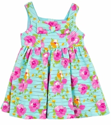 Rare Editions Baby Girls Blue Crochet Floral Bow Dress