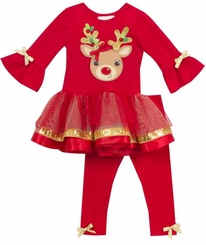Rare Editions Baby Girls Bright Red Ruffled With Gold Reindeer Legging Set