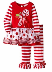 Rare Editions Baby Christmas Outfit Candy Cane Dot Stripe Set