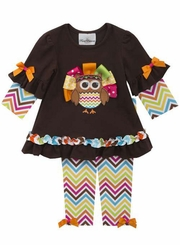 Rare Editions Baby Girls Chevron Ribbon Turkey Pant Set