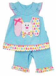 Rare Editions Baby Girls Floppy Ear Easter Bunny Capri Set