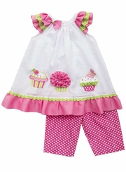 Rare Editions Baby Girls Fuchsia Cupcake Clipdot Capri set