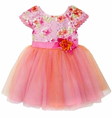Rare Editions Baby Girls Fuchsia Lace Tulle Party Dress