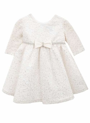 Rare Editions Baby-Girls Ivory Glitter Lace Dress