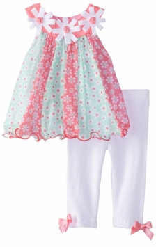 Rare Editions Baby Girls Mint Pink Floral Mesh Top White Legging Set