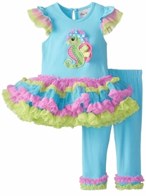 Rare Editions Baby Girls Multi Color Seahorse Tutu Legging Set SOLD OUT