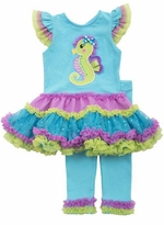 Rare Editions Baby Girls Multi Color Seahorse Tutu Legging Set