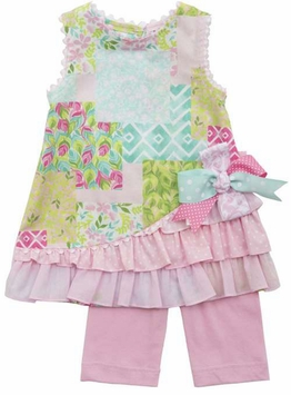 Rare Editions Baby Girls Pink Mixed Print Woven Side Bow Legging Set