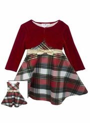 Rare Editions Baby Girls  Plaid Bow and Velvet Jacket Holiday Dress