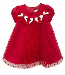 Rare Editions Baby-Girls Red Pleated Bow Dress
