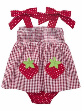 Rare Editions Baby Girls Red White Checked Strawberry Seersucker Dress Set - sold out