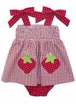 Rare Editions Baby Girls Red White Checked Strawberry Seersucker Dress Set