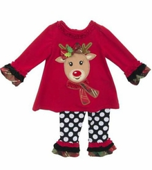 Rare Editions Baby-Girls Reindeer Dot Pant Set