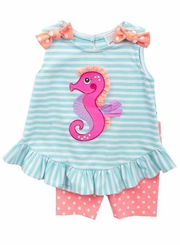 Rare Editions Baby-Girls Seahorse Short Set