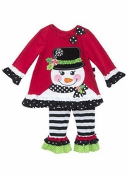 Rare Editions Baby Girls Top Hat Snowman Pant Set