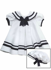 Rare Editions Baby Girls White Sailor Dress Set