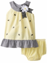 Rare Editions Baby Girls Yellow Checked Bumble Bee Seersucker Dress