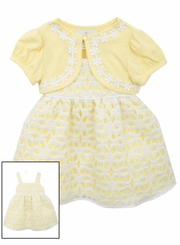 Rare Editions Baby Girls Yellow Daisy Cardigan Dress