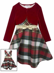 Rare Editions Girls 7-16  Plaid Bow and Velvet Jacket Holiday Dress