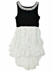 Rare Editions Big Girls Black and White Pearl Neckline Formal Dress