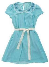 Rare Editions Big Girls Blue Chiffon Shift Dress w/Jeweled Collar