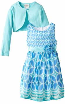 Rare Editions Big Girls Mint Cardigan Dress Set - SOLD OUT