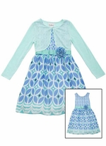 Rare Editions Big Girls Mint Cardigan Dress Set