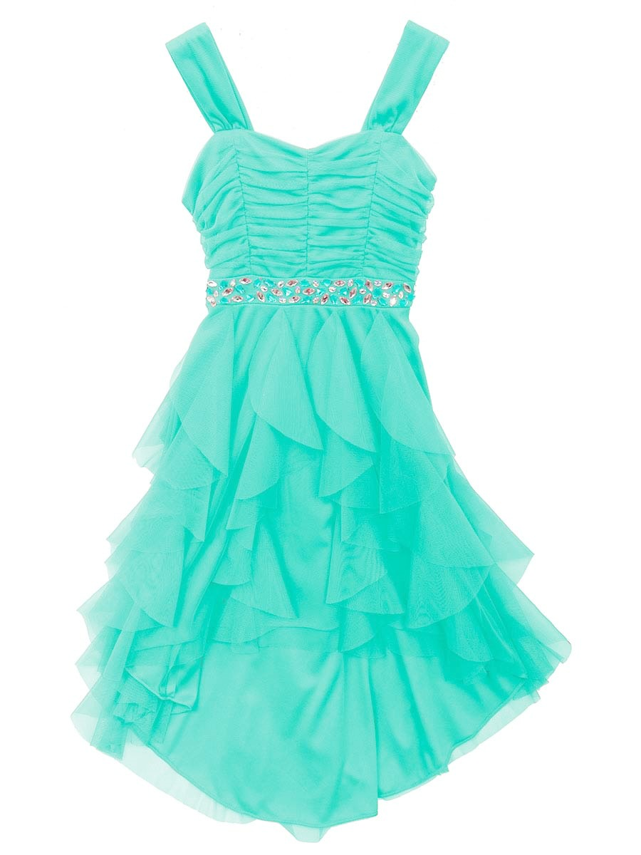 Rare Editions Big Girls Mint Cascade Party Dress