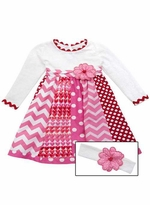 Rare Editions Big Girls Mixed Print Valentine's Day Dress