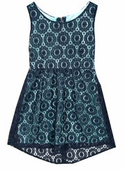 Rare Editions Big Girls Navy Turquoise Crochet Dress