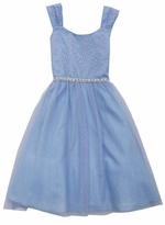 Rare Editions Big Girls Periwinkle Glitter Lace Special Occasion Dress