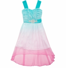 Rare Editions Big Girls Turquoise Ombre Dress