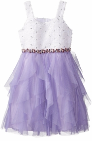 Rare Editions Big Girls White Soutache Bodice Purple Cascade Dress Gem Waist