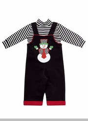 Rare Editions Baby Boy's Christmas Black Snowman Overall Set