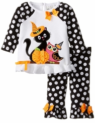 Rare Editions Little Girls Black Kitty Owl Dot Pant Set